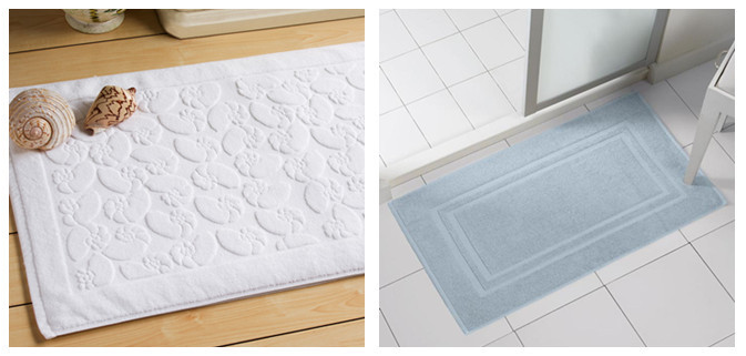 5 Star Custom Embossed Hotel Bath Mats , Hotel Style Collection Bath Mat