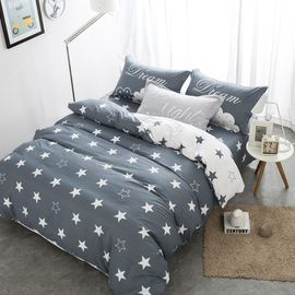 China Grey And White Polyester Home Bedding Sets Embroidered Printed Queen Size supplier