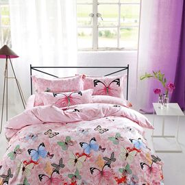 China Modern Home Bedroom 4 Piece Bedding Sets 100% Cotton Tancel Material Butterfly Design supplier