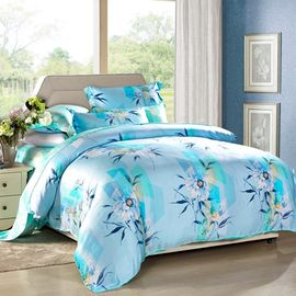 China Modern 4pcs Home Bedroom Bedding Sets 100 Percent Cotton Fabric Tancel Duvet Cover Sets supplier