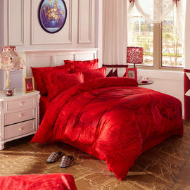 China Red Bridal Polyester Bed Sheet Cover Sets With Embroidery Flower Queen Size supplier