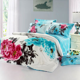 China Blue Color Polyester Bed Set , Embroidered Flower Printed Bedding Sets supplier