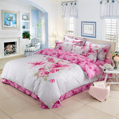 China Reactive Printed 3d Duvet Cover Bedding Sets 4 Pieces King Size Embroidered Flower supplier