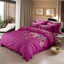 China Purple Color Polyester Bed Set For Home Bedroom / Hotel Super Soft supplier