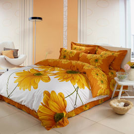 China Sunflower Design 4 Piece Bedroom Bedding Sets , Full Size Bed Comforter Sets supplier