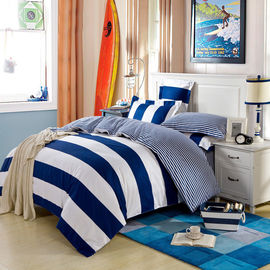 China Single Size / Double Size Cotton Bedding Sets Stripe Design Reactive Printed supplier