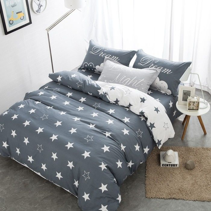 Grey And White Polyester Home Bedding Sets Embroidered