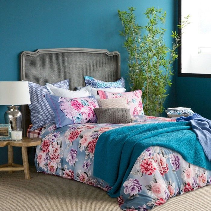 China Full Size / Queen Size Cotton Fitted Bed Sheets Bedding Sets  Embroidered Flower Printed Supplier
