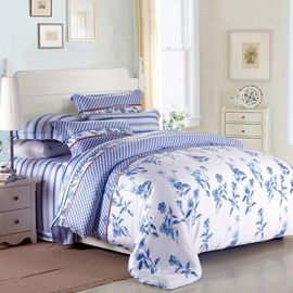 Purple Colorem Broidered Flower Home Bedding Sets Tencel Duvet Cover / Sheet Set