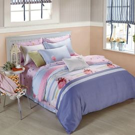 King Size 6 Piece Home Coral Bedding Sets Silk Material Most Comfortable