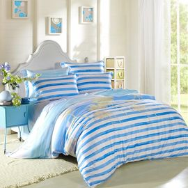 Kids Bedroom Home Bedding Sets Environmentally Friendly Blue / Black And White Striped Bedding