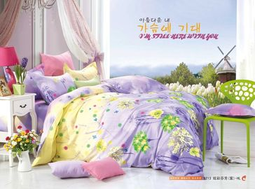 King Size / Twin Size Four Piece Cotton Bedding Sets Reactive Printing