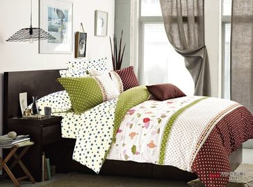 4 Piece 100 Percent Cotton Bedding Sets Plain / Twill Weaving Dyed Pigment Print