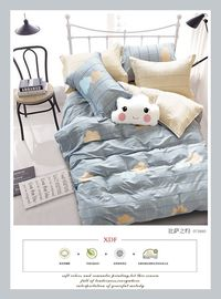 China Cotton Fabric Fitted Double Bed Sheets Bedding Sets Blue Color Super Soft factory
