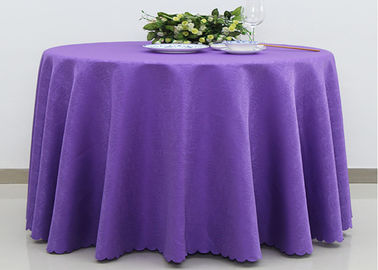 Custom Ivory Round Decorative Linen Table Cloths Polyester Jacquard Fabric